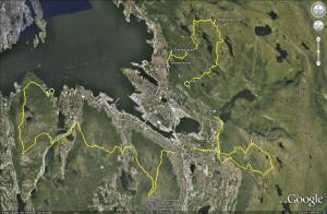 7-fjellsturen 2010 Google Earth screenshot