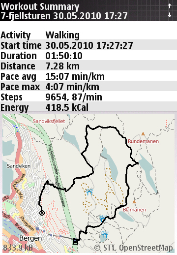 7-fjellsturen 2010 Sports Tracker screenshot 2